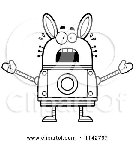 Cartoon Clipart Of A Black And White Scared Robot Rabbit - Vector Outlined Coloring Page by Cory Thoman