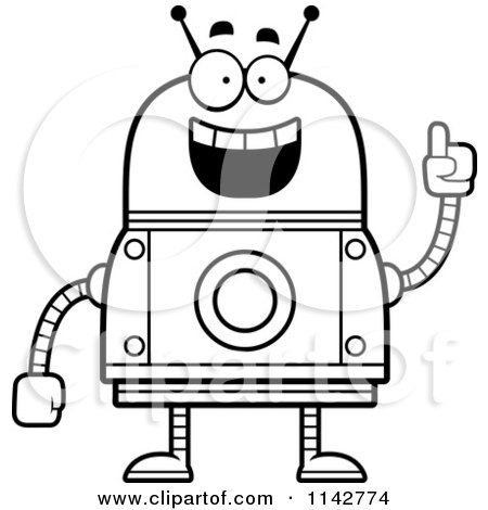 Cartoon Clipart Of A Black And White Smart Robot - Vector Outlined Coloring Page by Cory Thoman