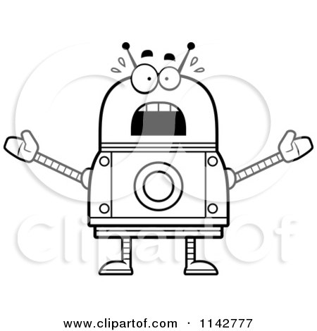 Cartoon Clipart Of A Black And White Scared Robot - Vector Outlined Coloring Page by Cory Thoman