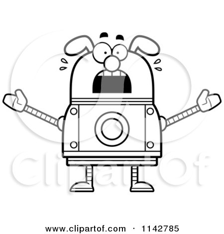 Cartoon Clipart Of A Black And White Scared Dog Robot - Vector Outlined Coloring Page by Cory Thoman
