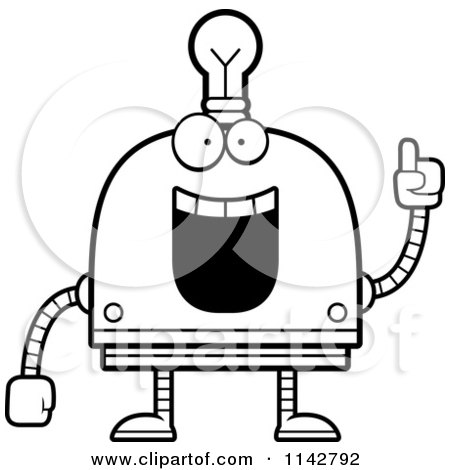 Cartoon Clipart Of A Black And White Creative Light Bulb Head Robot - Vector Outlined Coloring Page by Cory Thoman