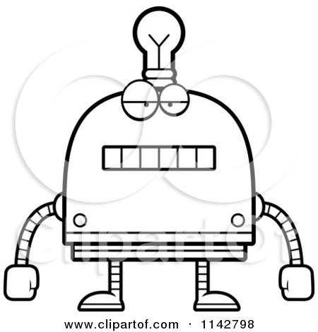 Cartoon Clipart Of A Black And White Bored Light Bulb Head Robot - Vector Outlined Coloring Page by Cory Thoman