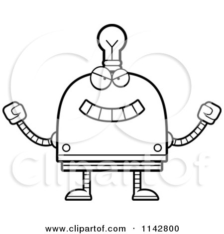 Cartoon Clipart Of A Black And White Evil Light Bulb Head Robot - Vector Outlined Coloring Page by Cory Thoman