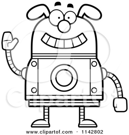 clipart waving dog robot royalty free vector