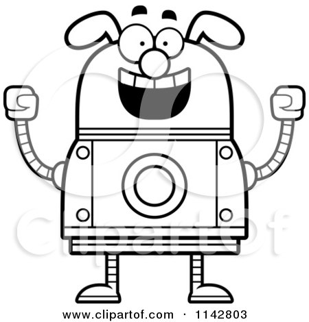 Cartoon Clipart Of A Black And White Excited Dog Robot - Vector Outlined Coloring Page by Cory Thoman