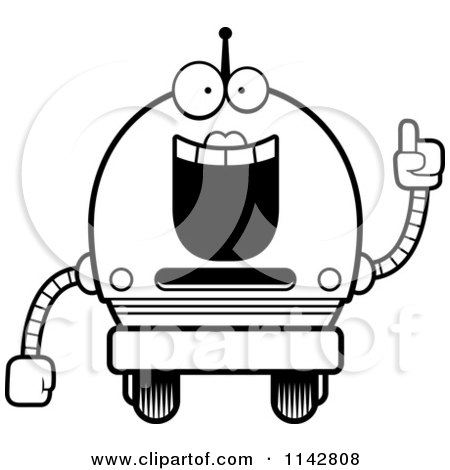 Cartoon Clipart Of A Black And White Smart Robot Girl ...