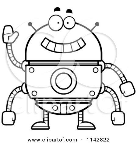 Cartoon Clipart Of A Black And White Waving Robot - Vector Outlined Coloring Page by Cory Thoman