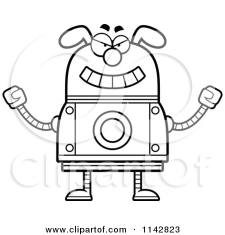 Cartoon Clipart Of A Black And White Evil Dog Robot - Vector Outlined Coloring Page by Cory Thoman