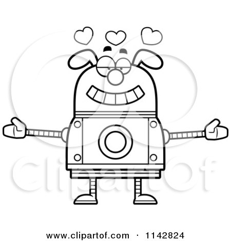 Cartoon Clipart Of A Black And White Loving Dog Robot - Vector Outlined Coloring Page by Cory Thoman