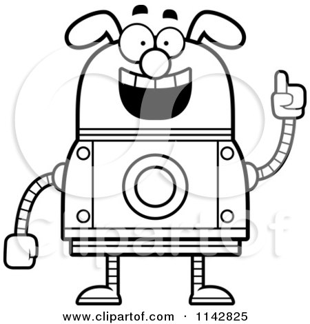 Cartoon Clipart Of A Black And White Smart Dog Robot - Vector Outlined Coloring Page by Cory Thoman