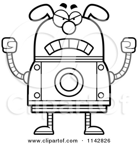 Cartoon Clipart Of A Black And White Mad Dog Robot - Vector Outlined Coloring Page by Cory Thoman
