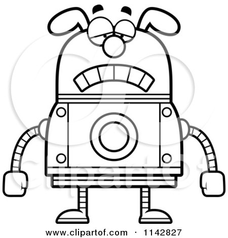 Cartoon Clipart Of A Black And White Evil Dog Robot ...