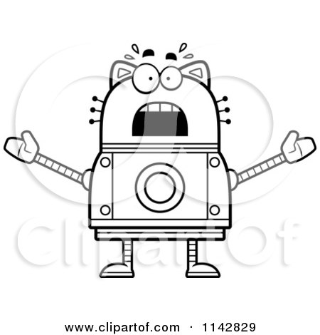 Cartoon Clipart Of A Black And White Scared Robot Cat - Vector Outlined Coloring Page by Cory Thoman
