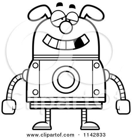 Cartoon Clipart Of A Black And White Dumb Dog Robot - Vector Outlined Coloring Page by Cory Thoman