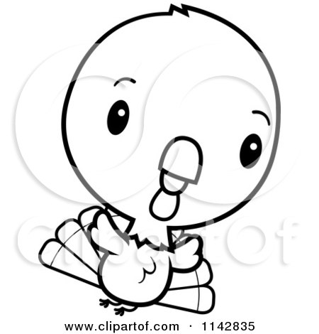 Cartoon Clipart Of A Black And White Cute Baby Turkey Bird Flying - Vector  Outlined Coloring Page by Cory Thoman