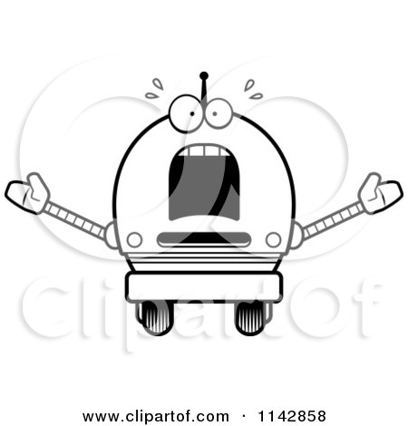 Cartoon Clipart Of A Black And White Scared Robot Boy - Vector Outlined Coloring Page by Cory Thoman