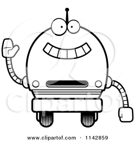 Cartoon Clipart Of A Black And White Waving Robot Boy
