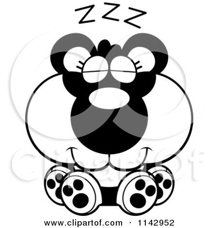 Cartoon Clipart Of A Black And White Cute Sleeping Panda