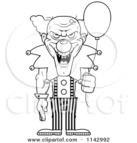 Cartoon Clipart Of A Black And White Demonic Clown Holding A Balloon ...