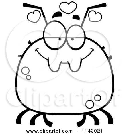Cartoon Clipart Of A Black And White Chubby Infatuated Tick - Vector Outlined Coloring Page by Cory Thoman