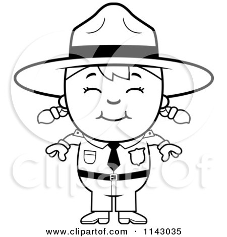 Park ranger coloring pages ~ Cartoon Clipart Of A Black And White Happy Forest Ranger ...