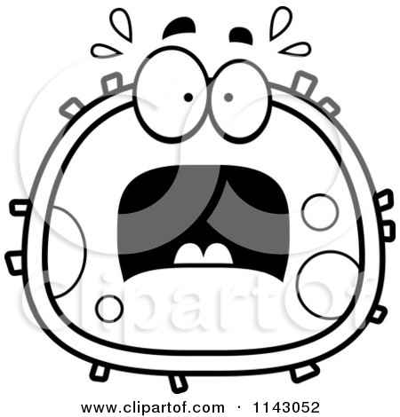 Cartoon Clipart Of A Black And White Scared Blood Cell - Vector Outlined Coloring Page by Cory Thoman