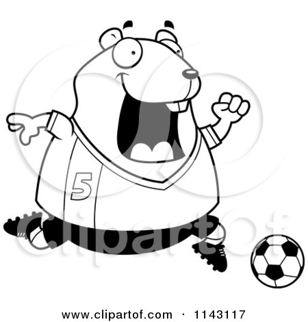Cartoon Clipart Of A Black And White Chubby Hamster Playing Soccer - Vector Outlined Coloring Page by Cory Thoman