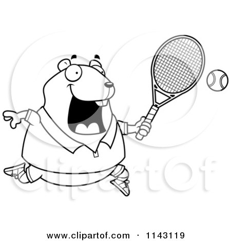 Cartoon Clipart Of A Black And White Chubby Hamster Playing Tennis - Vector Outlined Coloring Page by Cory Thoman