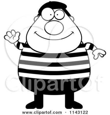 Cartoon Clipart Of A Black And White Chubby French Man Waving - Vector Outlined Coloring Page by Cory Thoman