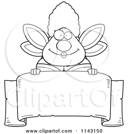 Cartoon Clipart Of A Black And White Chubby Fairy Godmother Over A Blank Parchment Banner - Vector Outlined Coloring Page by Cory Thoman