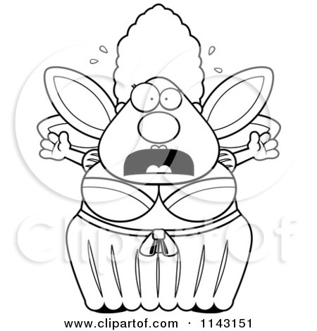 Cartoon Clipart Of A Black And White Chubby Fairy Godmother Freaking Out - Vector Outlined Coloring Page by Cory Thoman