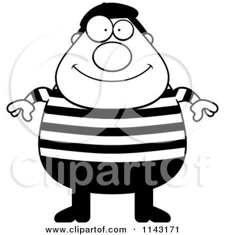 Cartoon Clipart Of A Black And White Chubby French Man - Vector Outlined Coloring Page by Cory Thoman