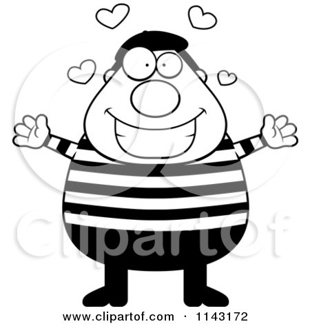 Cartoon Clipart Of A Black And White Chubby French Man With Hearts - Vector Outlined Coloring Page by Cory Thoman