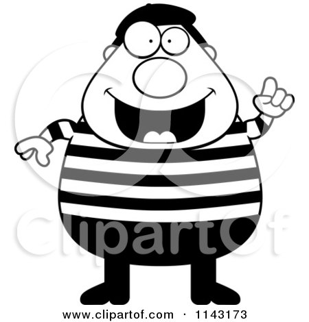 Cartoon Clipart Of A Black And White Chubby French Man With An Idea - Vector Outlined Coloring Page by Cory Thoman