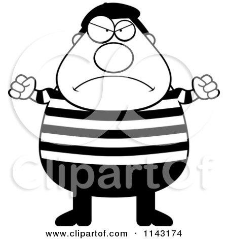 Cartoon Clipart Of A Black And White Chubby Angry French Man - Vector Outlined Coloring Page by Cory Thoman