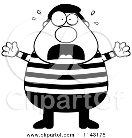 Cartoon Clipart Of A Black And White Chubby French Man Freaking Out - Vector Outlined Coloring Page by Cory Thoman