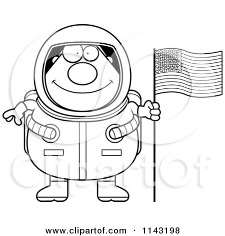 Cartoon Clipart Of A Black And White Chubby Astronaut With An American Flag - Vector Outlined Coloring Page by Cory Thoman