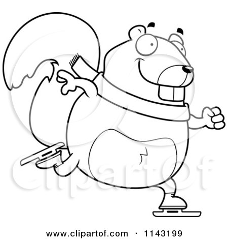Cartoon Clipart Of A Black And White Chubby Squirrel Ice Skating ...