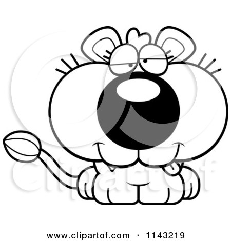 Cartoon Clipart Of A Black And White Cute Dumb Lioness - Vector Outlined Coloring Page by Cory Thoman