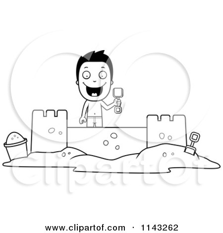 Cartoon Clipart Of A Black And White Happy Summer Boy Building A Sand Castle - Vector Outlined Coloring Page by Cory Thoman