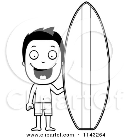 Cartoon Clipart Of A Black And White Happy Summer Boy By A Surfboard - Vector Outlined Coloring Page by Cory Thoman