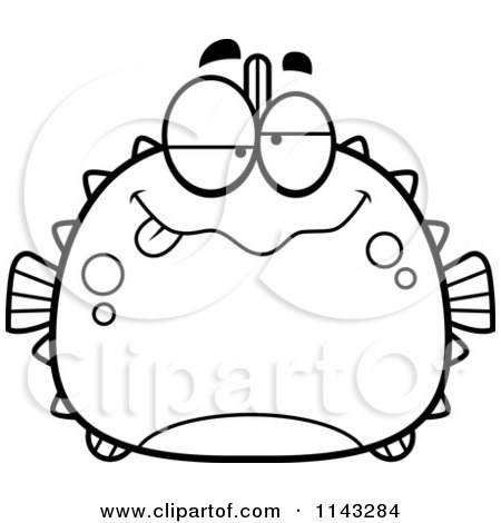 Cartoon Clipart Of A Black And White Chubby Drunk Blowfish - Vector Outlined Coloring Page by Cory Thoman