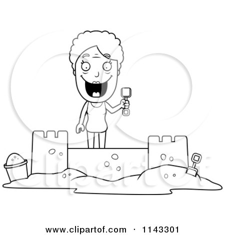 Cartoon Clipart Of A Black And White Senior Granny Woman Building A Sand Castle - Vector Outlined Coloring Page by Cory Thoman