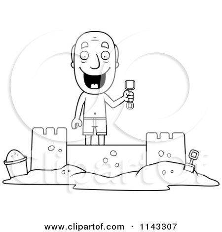 Cartoon Clipart Of A Black And White Summer Grandpa Building A Sand Castle - Vector Outlined Coloring Page by Cory Thoman
