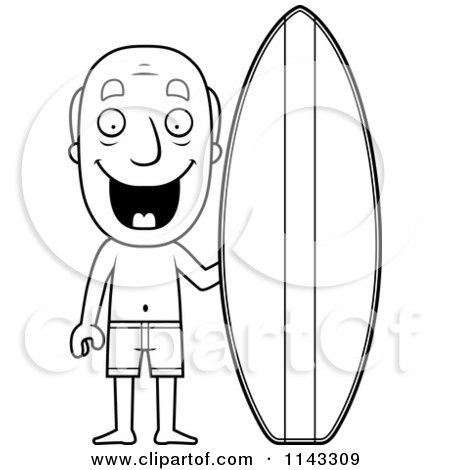 Cartoon Clipart Of A Black And White Summer Grandpa With A Surf Board - Vector Outlined Coloring Page by Cory Thoman