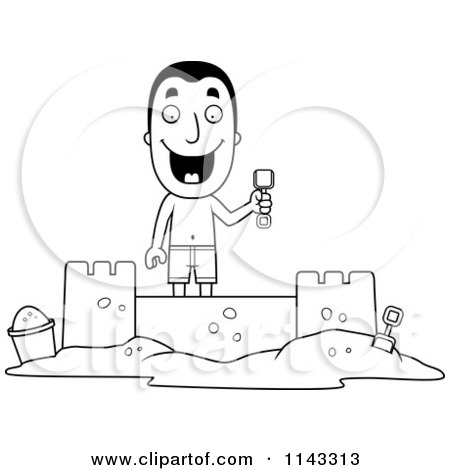 Cartoon Clipart Of A Black And White Summer Man Building A Sand Castle - Vector Outlined Coloring Page by Cory Thoman