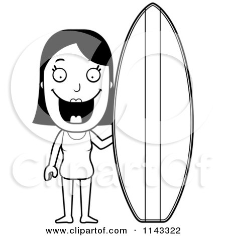 Cartoon Clipart Of A Black And White Summer Woman With