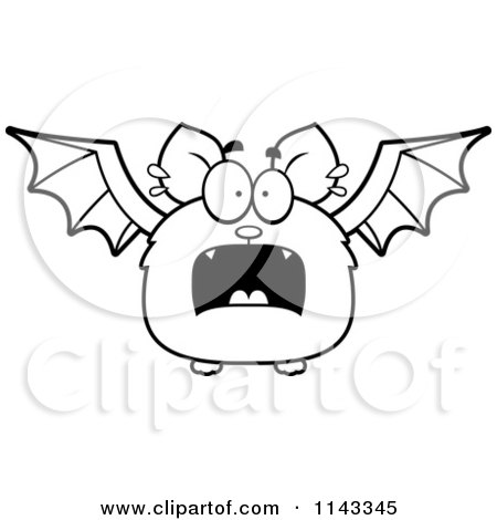 Cartoon Clipart Of A Black And White Scared Bat - Vector Outlined Coloring Page by Cory Thoman