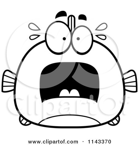 Cartoon Clipart Of A Black And White Chubby Scared Fish ...