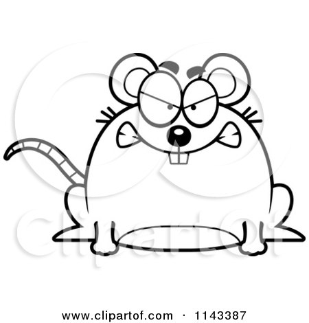 Cartoon Clipart Of A Black And White Chubby Mad Mouse - Vector Outlined Coloring Page by Cory Thoman